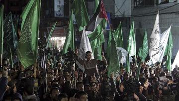 Протест в Газе против признания движения ХАМАС террористической организацией