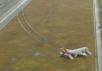 Самолет авиакомпании Asiana Airlines съехал со взлетно-посадочной полосы после приземления в аэропорту Хиросимы