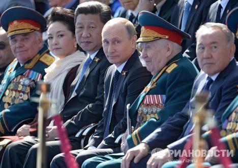 Президент Российской Федерации Владимир Путин во время военного парада в ознаменование 70-летия Победы в Великой Отечественной войне
