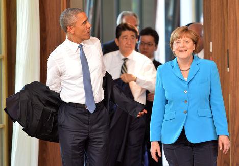 Ангела Меркель, Барак Обама и Синдзо Абэ на саммите G7 в Эльмау