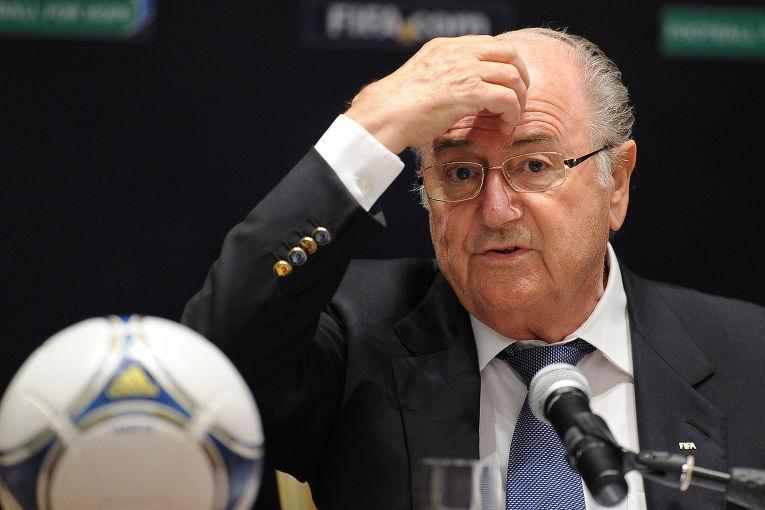 Президент FIFA (ФИФА) Йозеф Блаттер на пресс-брифинге по итогам объявления городов-организаторов Чемпионата мира по футболу FIFA 2018 в России