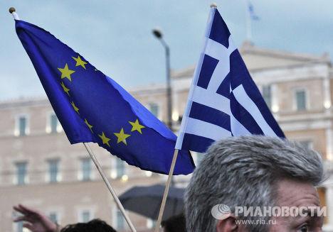 Митинг сторонников соглашения с кредиторами на площади Синтагма в Афинах, Греция