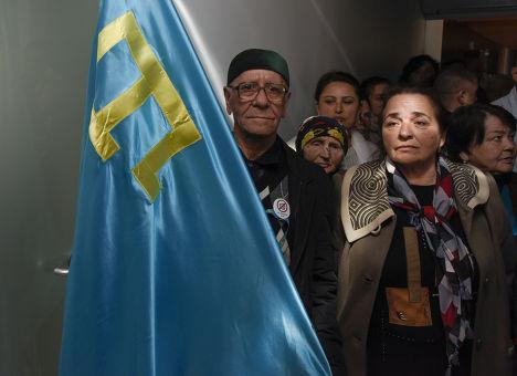 Акция крымских татар в поддержку телеканала ATR в Симферополе