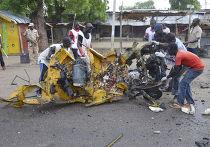 Место теракта в Майдугури, Нигерия