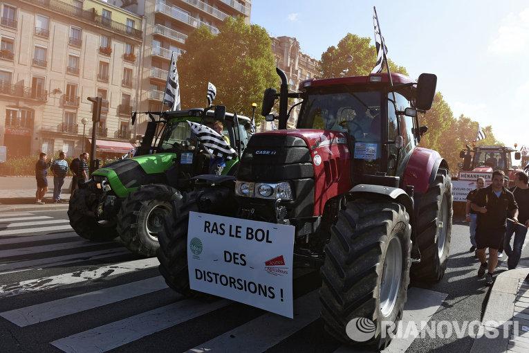 Акция протеста фермеров в Париже