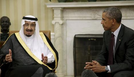 Король Саудовской Аравии Салман ибн Абдул-Азиз и президент США Барак Обама во время встречи в Белом доме