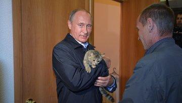 Президент России Владимир Путин держит на руках кошку во время проверки хода строительства жилья для пострадавших от пожаров в селе Краснополье