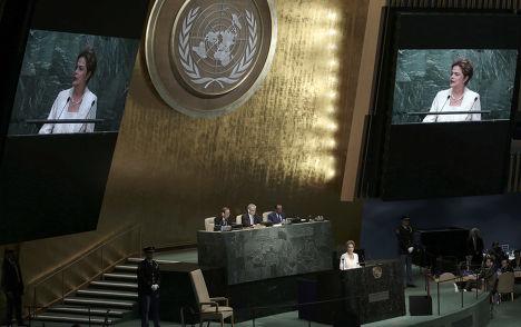 Президент Бразилии Дилма Русеф выступает на 70-й сессии Генеральной Ассамблеи ООН
