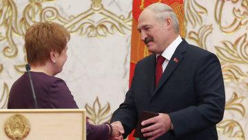 Избранный президент Белоруссии Александр Лукашенко во время церемония инаугурации президента Республики Беларуссии