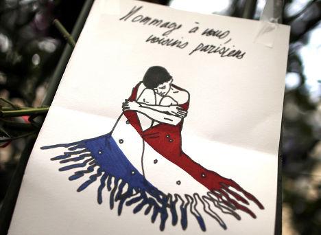 Табличка на месте теракта в Париже