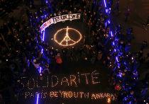 Акция, посвященная памяти погибших в парижских терактах, в Лозанне