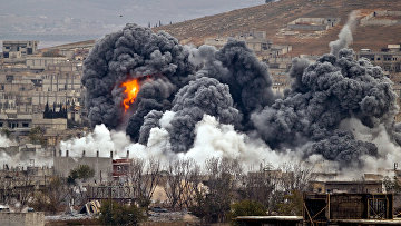 Авиаудар коалиции во главе с США по позициям боевиков «Исламского государства» в Кобани