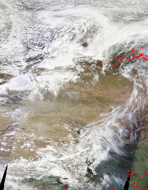Очаги лесных пожаров в Сибири