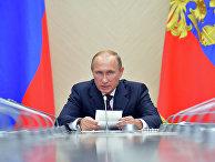 Президент России Владимир Путин во время совещания в резиденции Ново-Огарево по вопросу развития рынка микроэлектроники