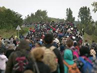 Беженцы в Ботово, Хорватия, рядом с границей с Венгрией