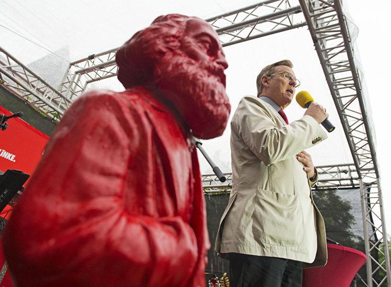 Предвыборная речь ведущего кандидата от Левой партии Германии в Эрфурте