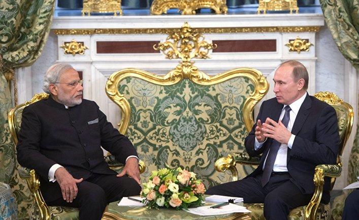 Встреча президента РФ В. Путина с премьер-министром Индии Н. Моди