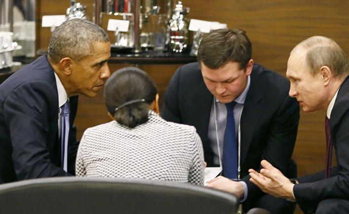 Владимир Путин и Барак Обама перед открывющей сессией саммита G20 в Анталье