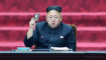 Лидер Северной Кореи Ким Чен Ын на заседании Верховного народного собрания в Пхеньяне