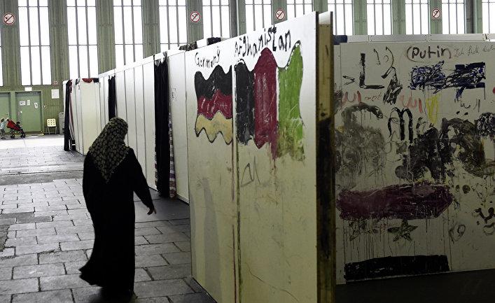 Приют для беженцев в здании бывшего аэропорта в Берлине