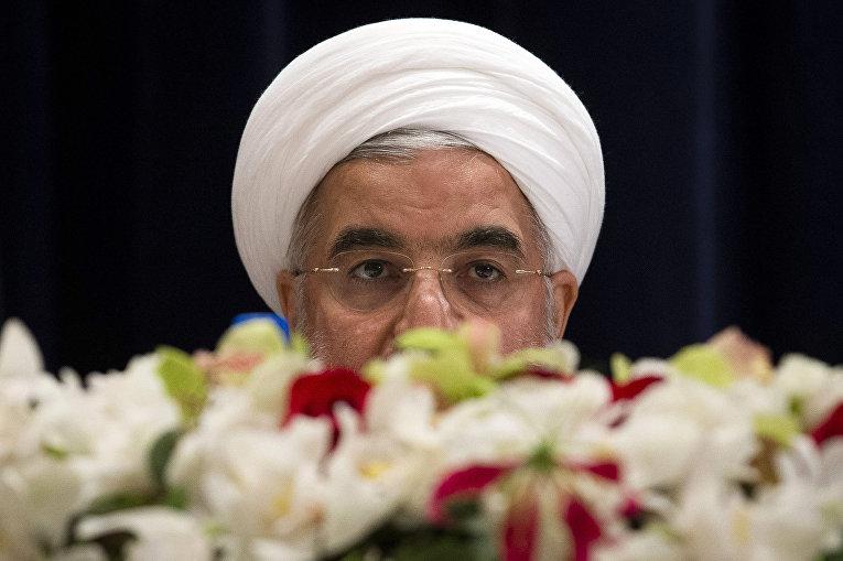 Президент Ирана Хасан Рухани на пресс-конференции в Нью-Йорке
