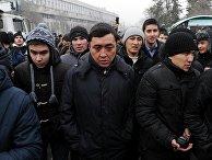 Во время митинга против девальвации тенге в Алма-Ате