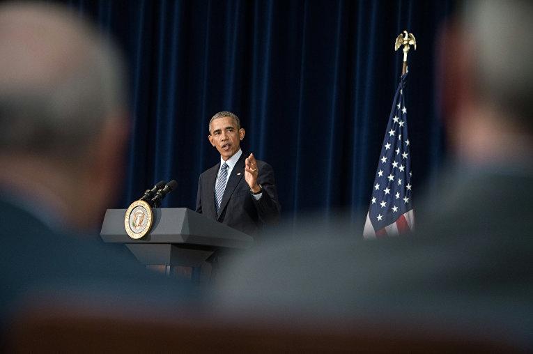Президент США Барак Обама на конференции в Вашингтоне