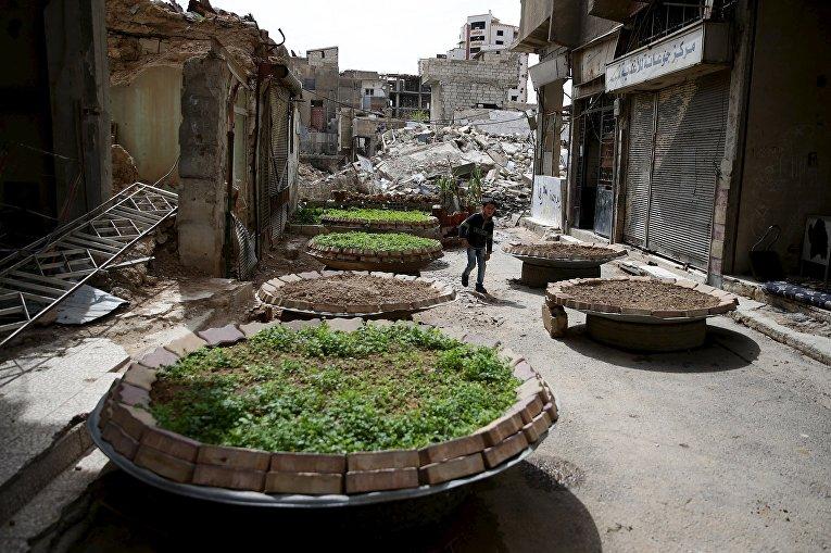Мальчик гуляет в пострадавших от бомбежек окрестностях Дамаска