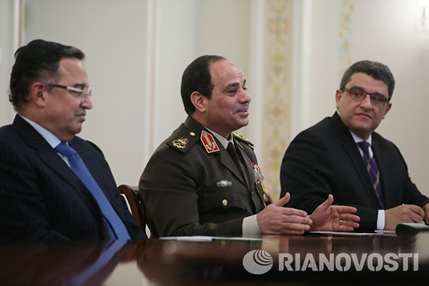 В.Путин провел встречу с Набилем Фахми и Абделем Фатахом ас-Сиси