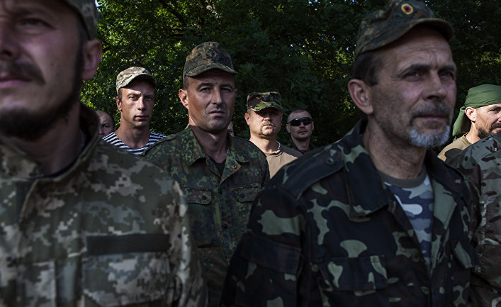 Бойцы ультраправой украинской организации «Правый сектор»