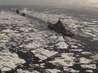 Боевые корабли прошли через льды и привезли в Арктику технику для стройки