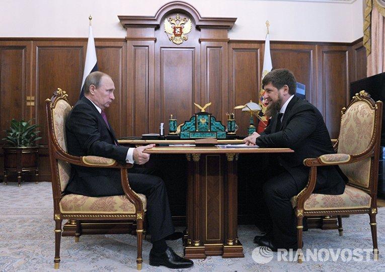 25 марта 2016. Президент России Владимир Путин и глава Чечни Рамзан Кадыров во время встречи в Кремле