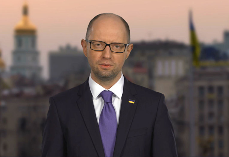 Премьер-министр Арсений Яценюк в своем выступлении по телевидению говорит, что уходит в отставку