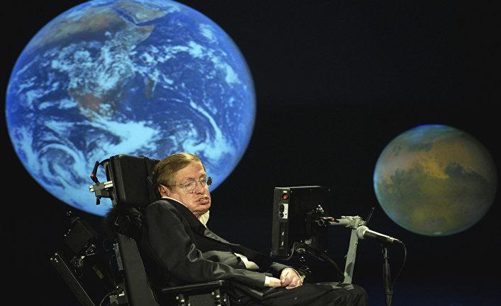 Стивен Хокинг выступает с речью во время лекции в университете Джорджа Вашингтона в Вашингтоне