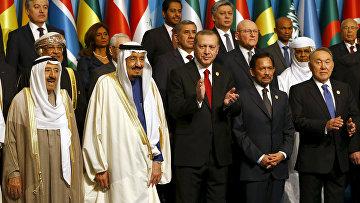 Президент Турции Реджеп Тайип Эрдоган вместе с лидерами государств-членов «Организации исламских государств»