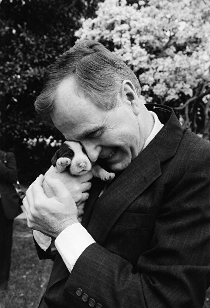 Джордж Буш с одним из шести щенков Милли