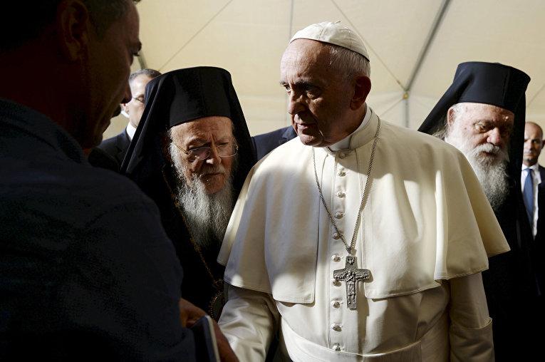 Папа римский Франциск, патриарх константинопольский Варфоломей I и архиепископ афинский и всея Греции Иероним