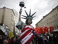 Демонстрация противников Трансатлантического торгового и инвестиционного партнерства (ТТИП)