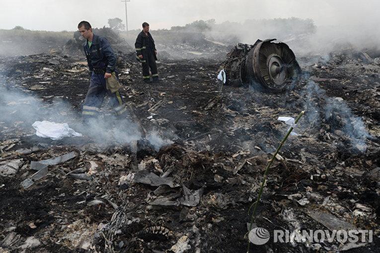 На месте крушения малазийского самолета Boeing 777 в районе города Шахтерск Донецкой области