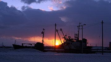 Российское судно в Японском порту Вакканай