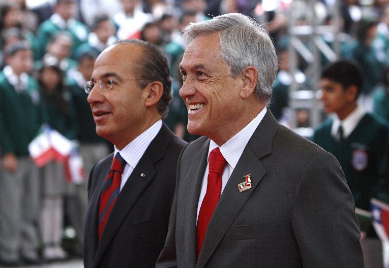 Президенты Мексики и Чили Фелипе Кальдерон и Себастьян Пиньера