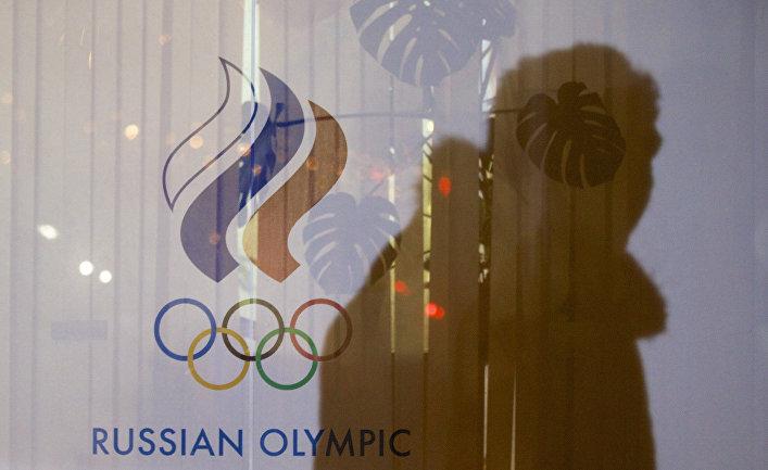 Окно здания Олимпийского комитета России в Москве