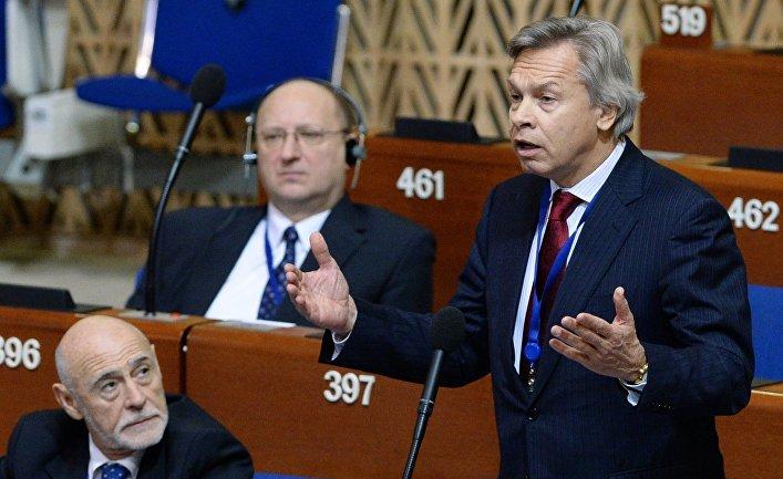Председатель комитета Государственной Думы РФ по международным делам Алексей Пушков выступает на пленарном заседании зимней сессии Парламентской ассамблеи Совета Европы. 27 января 2015