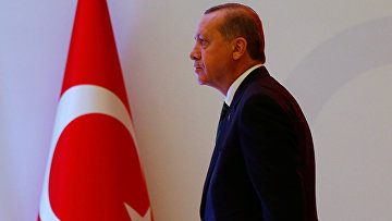 Президент Турции Тайип Эрдоган на пресс-конференций в Стамбуле