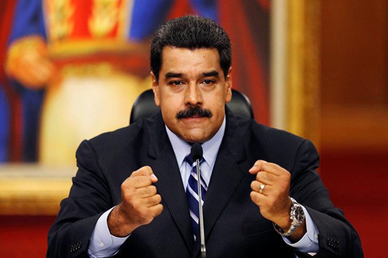 Президент Венесуэлы Николас Мадуро дает пресс-конференцию в Каракасе