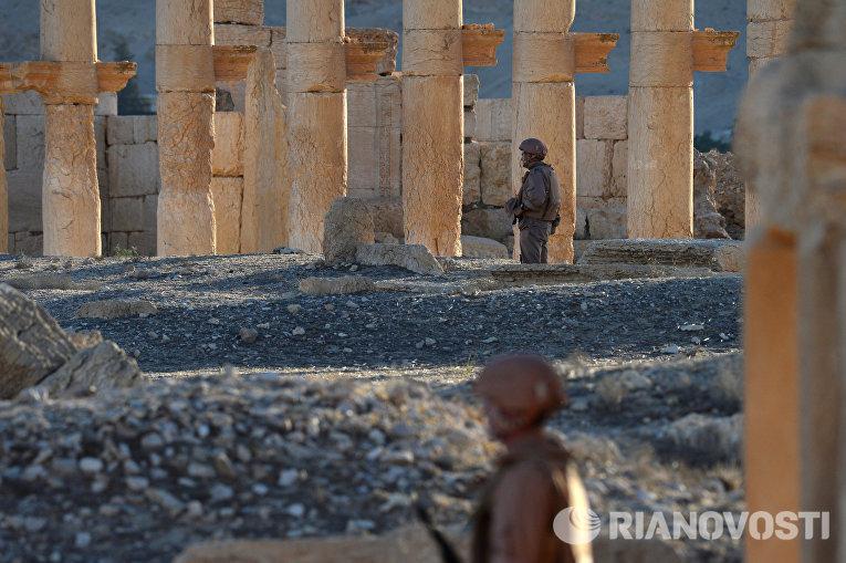 Российские военнослужащие охраняют территорию Пальмиры