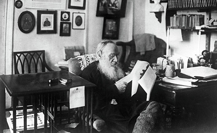 Русский писатель Лев Николаевич Толстой. Ясная Поляна. 1909 год