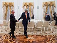 Президент России Владимир Путин, государственный секретарь США Джон Керри во время встречи в Кремле