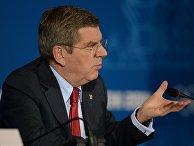 Президент Международного Олимпийского Комитета Томас Бах во время пресс-конференции по итогам XXII зимних Олимпийских игр в Сочи