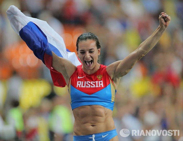Елена Исинбаева на чемпионате мира по легкой атлетике в Москве